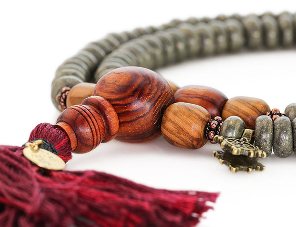 Buddhist Mala Beads with Pyrite Tulipwood and Olivewood