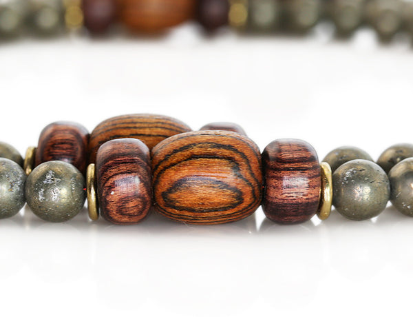 Buddhist Mala Beads with Pyrite and Bocote Wood Marker Beads