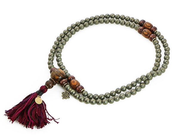 Buddhist Mala Beads with Pyrite and Bocote Wood Top View