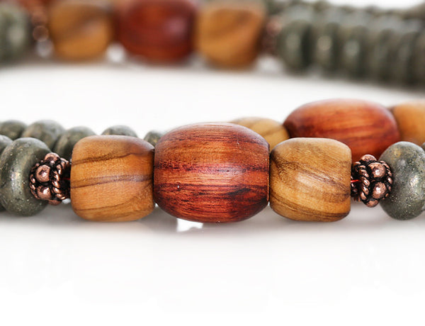 Buddhist Mala Beads with Pyrite and Tulipwood Marker Beads