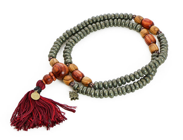 Buddhist Mala Beads with Pyrite and Tulipwood Top View
