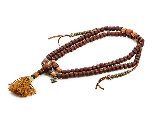 Buddhist Mala Beads with Quina Olivewood and Rengas Tiger Wood