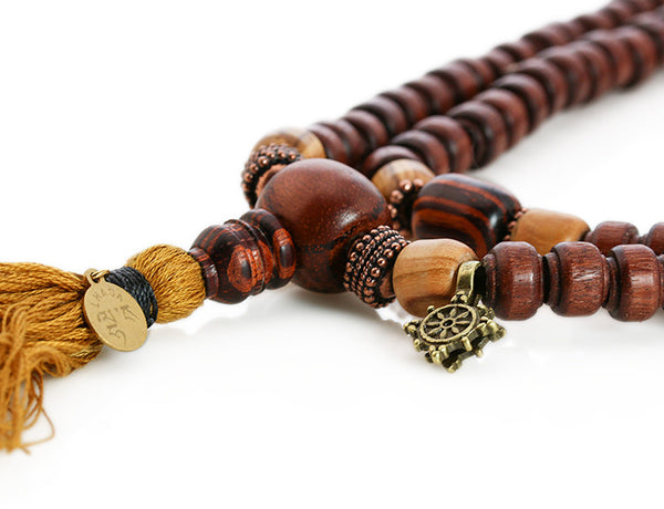 Buddhist Mala Beads with Quina and Rengas Tiger Wood Guru Bead