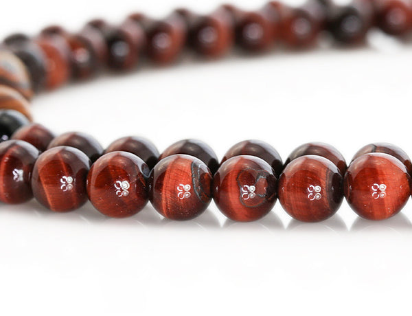 Buddhist Mala Beads with Red Tigereye and Bocote Wood Close Up