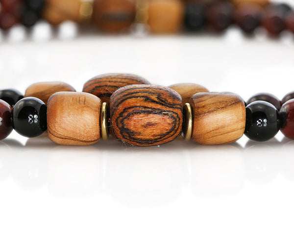 Buddhist Mala Beads with Red Tigereye and Bocote Wood Marker Beads