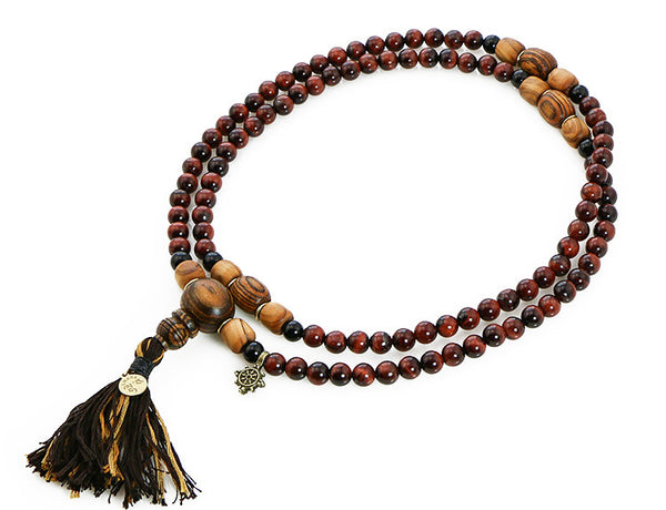 Buddhist Mala Beads with Red Tigereye and Bocote Wood Top View
