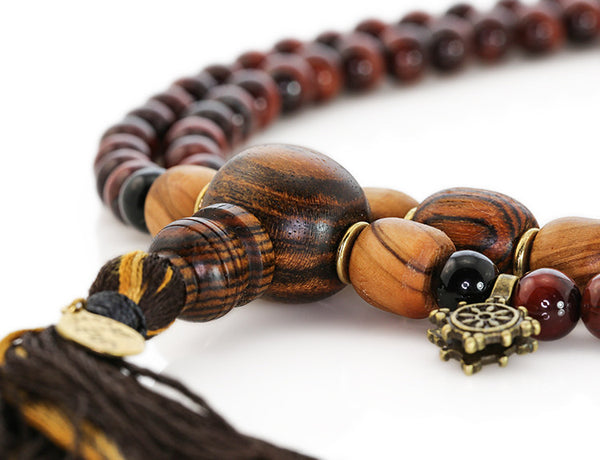 Buddhist Mala Beads with Red Tigereye and Bocote Wood