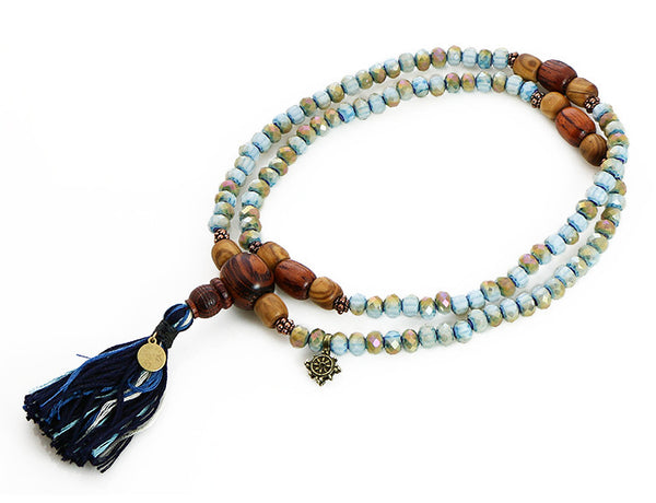 Buddhist Mala Beads with Rengas Tiger Wood and Blue Italian Glass Top View