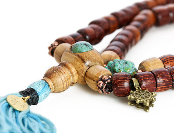 Buddhist Mala Beads with Rengas Tiger Wood and Turquoise