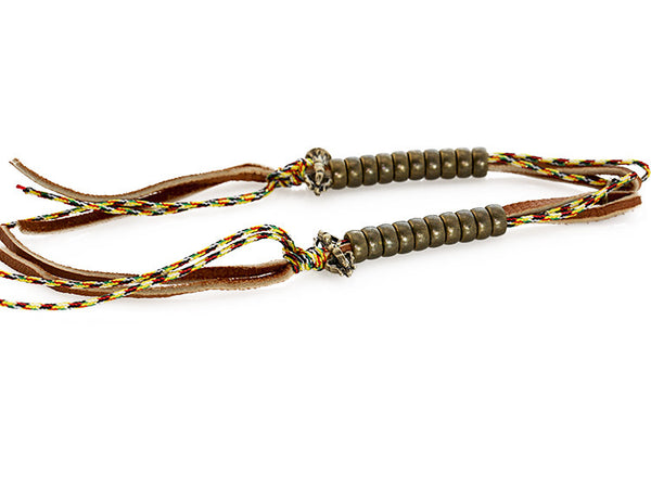 Buddhist Mala Counters Knotted Leather and Tibetan Prayer String Left Side