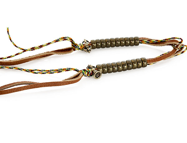 Buddhist Mala Counters Knotted Leather and Tibetan Prayer String Right Side