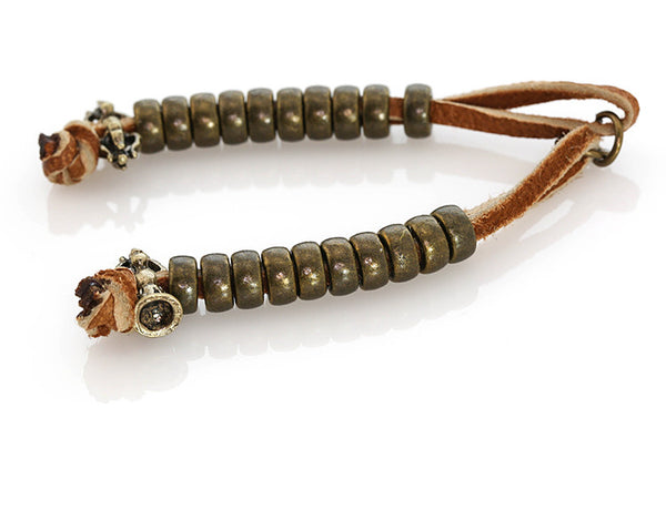Buddhist Mala Counters with Knotted Leather and Antiqued Bell Bead