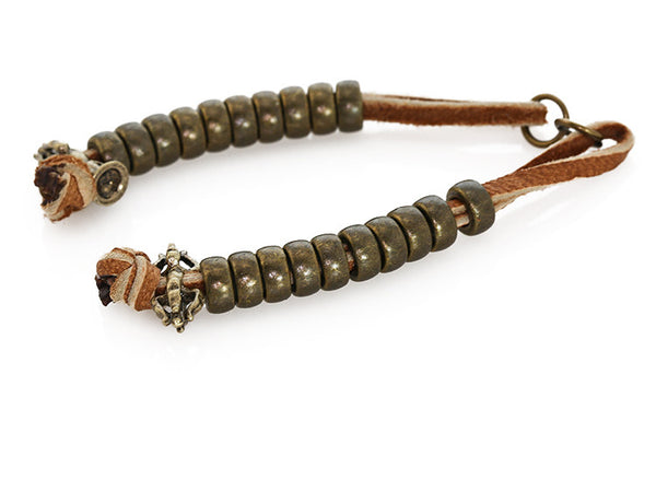 Buddhist Mala Counters with Knotted Leather and Antiqued Dorje Bead