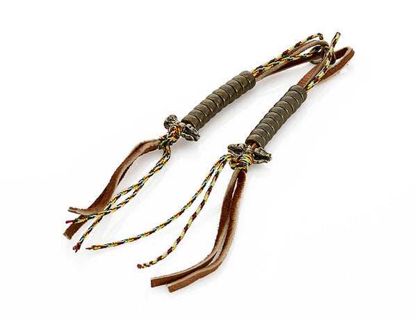 Buddhist Mala Counters with Knotted Leather and Tibetan Prayer String