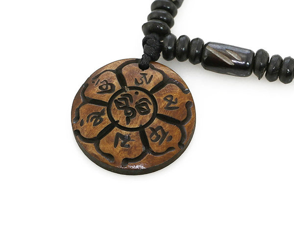 Tibetan Buddhist Necklace Carved Lotus Mantra Pendant Close Up
