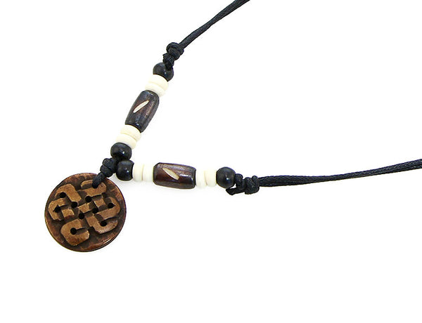 Tibetan Buddhist Necklace with Carved Endless Knot Symbol Pendant