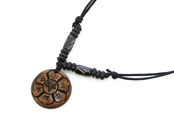 Tibetan Buddhist Necklace with Carved Mantra in Lotus Petals Pendant