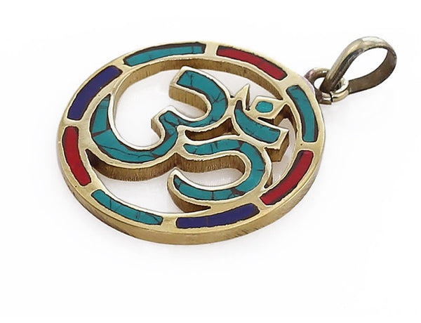 Buddhist Pendant Gemstone and Brass Circular Om Symbol Side View