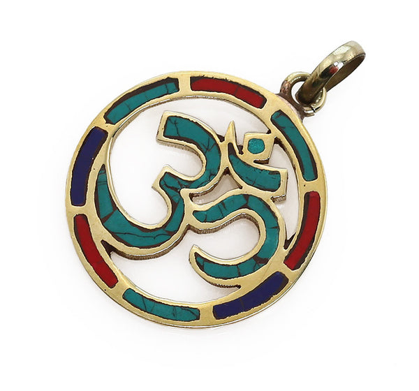 Buddhist Pendant with Gemstone and Brass Circular Om Symbol