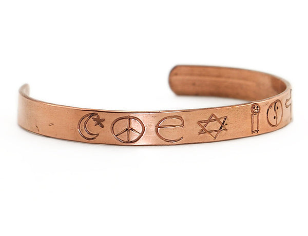 Copper Cuff Bracelet Engraved with Coexist Left Side
