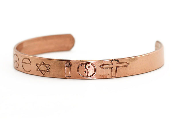 Copper Cuff Bracelet Engraved with Coexist Right Side