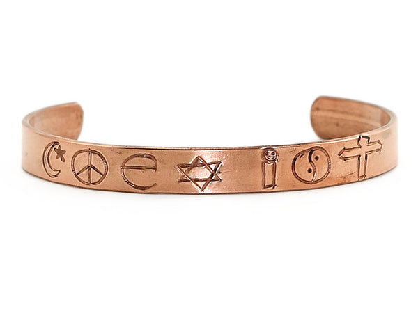 Copper Cuff Bracelet Engraved with Coexist