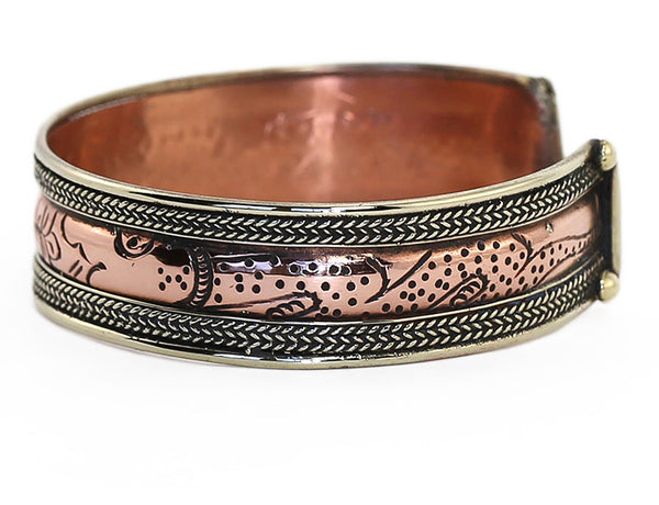 Copper Tibetan Cuff Bracelet Engraved Lotus Close Up