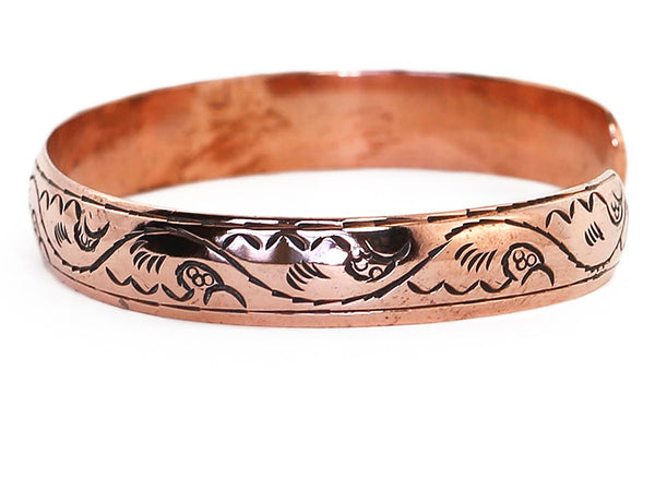 Copper Tibetan Cuff Bracelet Enragved Mountains Close Up