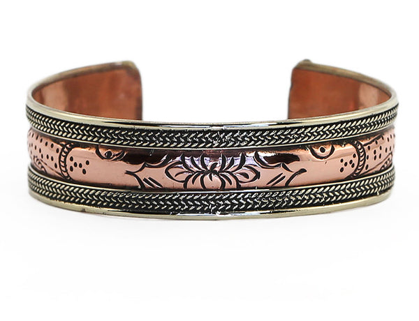 Copper Tibetan Cuff Bracelet with Engraved Lotus Design