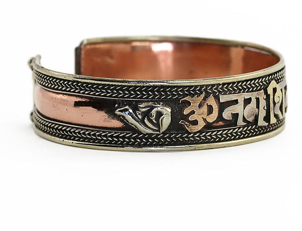 Copper Tibetan Cuff Bracelet with Silver Shell Symbol on Left Side
