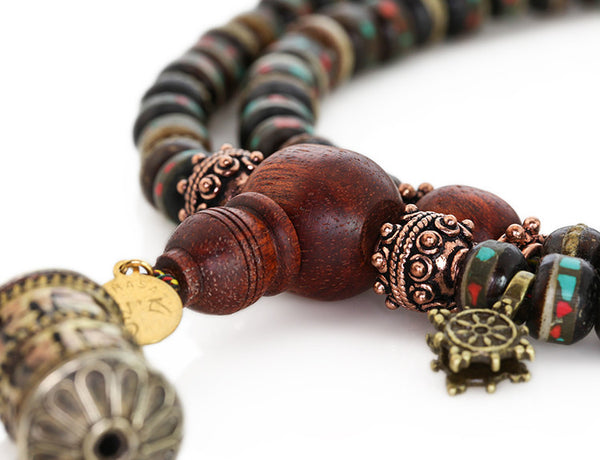 Mala Beads Black Inlaid Bone with Bloodwood Guru Bead