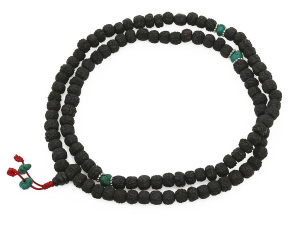 Mala Beads Black Rudraksha And Turquoise
