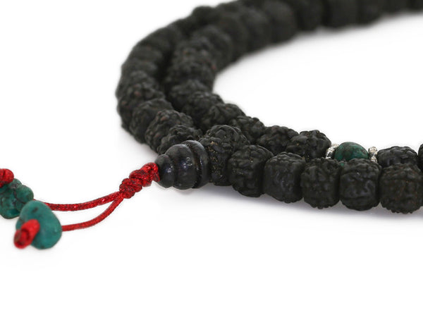 Mala Beads Black Rudraksha Close Up