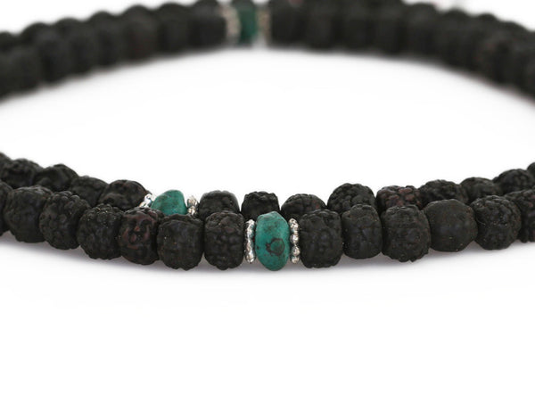 Mala Beads Black Rudraksha and Turquoiuse Close Up