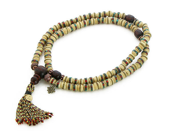 Tibetan Mala Beads White Inlaid Bone and Cocobolo Top View