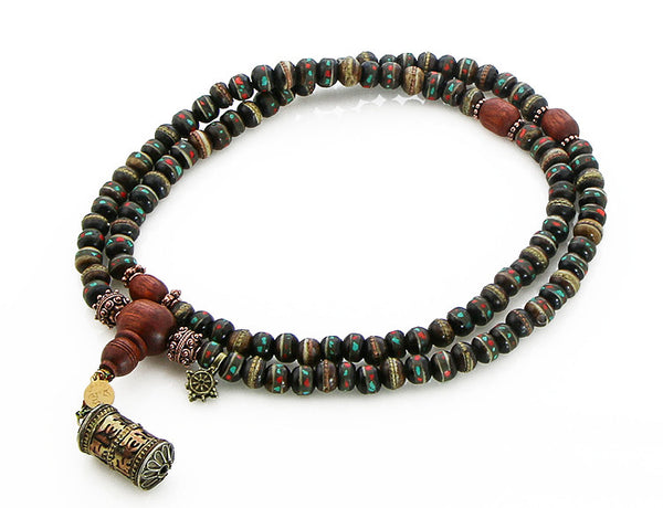 Mala Beads with Black Inlaid Bone and Bloodwood Top VIew