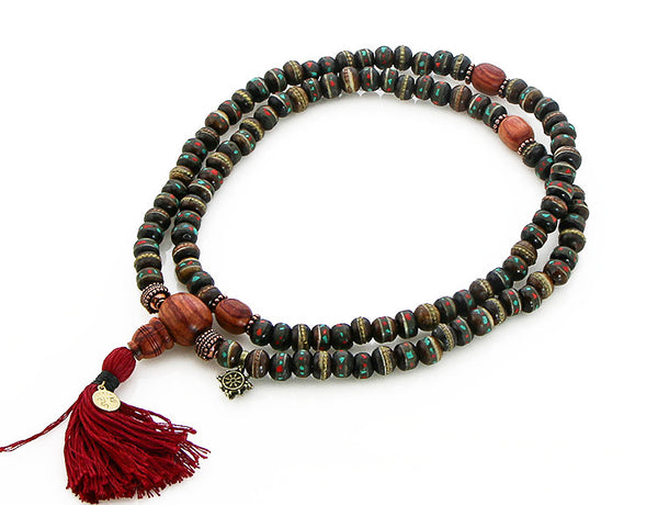 Mala Beads with Black Inlaid Bone and Tulipwood Top View