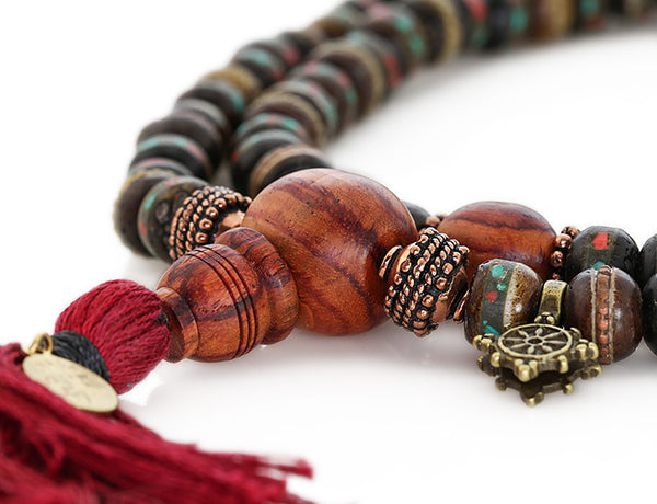 Mala Beads with Black Inlaid Bone and Tulipwood