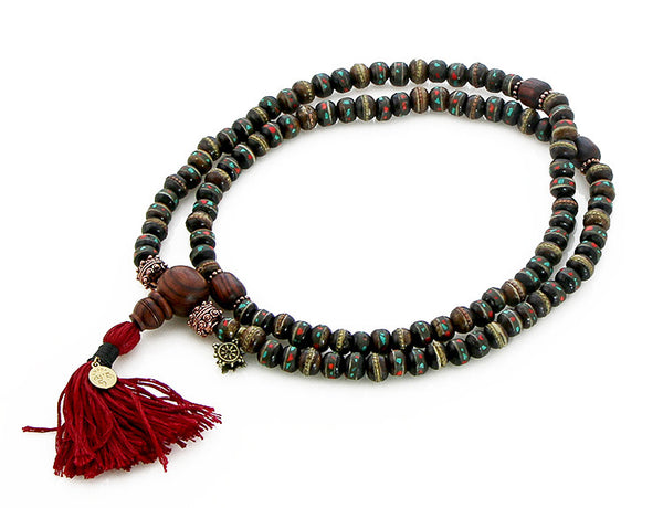 Mala Beads with Kingwood and Black Inlaid Bone Top View