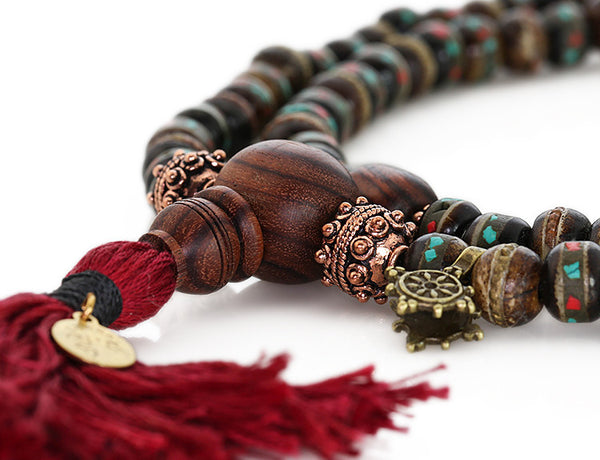 Mala Beads with Kingwood and Black Inlaid Bone