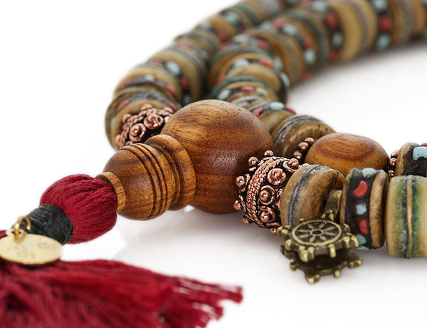 Mala Beads with Rustic Inlaid Bone and Canarywood
