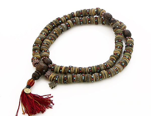 Mala Beads with Rustic Inlaid Bone and Bocote Wood Top View
