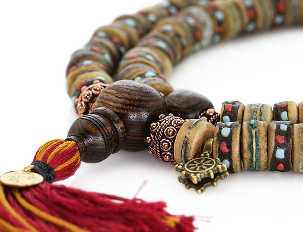 Mala Beads with Rustic Inlaid Bone and Bocote Wood