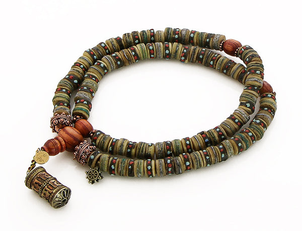 Tibetan Mala Beads with Rustic Inlaid Bone and Tulipwood Top View