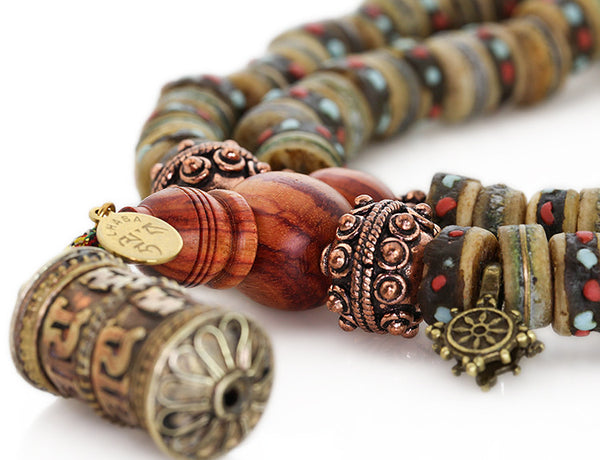 Tibetan Mala Beads with Rustic Inlaid Bone and Tulipwood