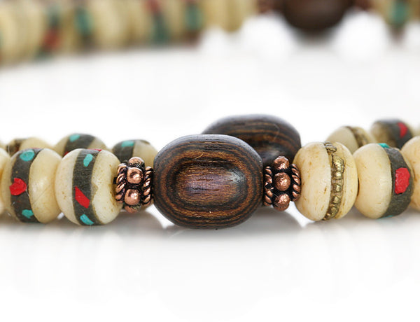 Mala Beads with White Inlaid Bone and Bocote Wood Marker Beads