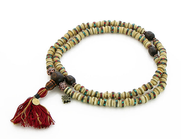 Tibetan Mala Beads with White Inlaid Bone and Bocote Wood Top View