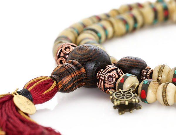 Tibetan Mala Beads with White Inlaid Bone and Bocote Wood