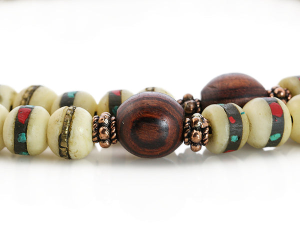 Tibetan Mala Beads with White Inlaid Bone and Kingwood Marker Beads