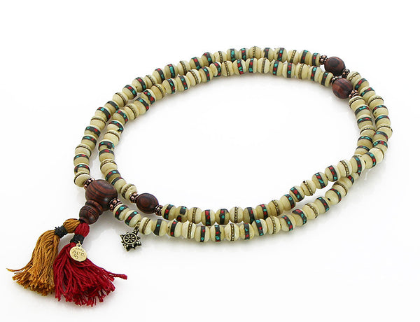 Tibetan Mala Beads with White Inlaid Bone and Kingwood Top View